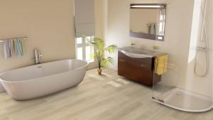 Badezimmer mit hellem Boden