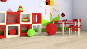 Kinderzimmer mit hellem Boden