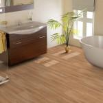 Vinylboden ausgelegt im Badezimmer
