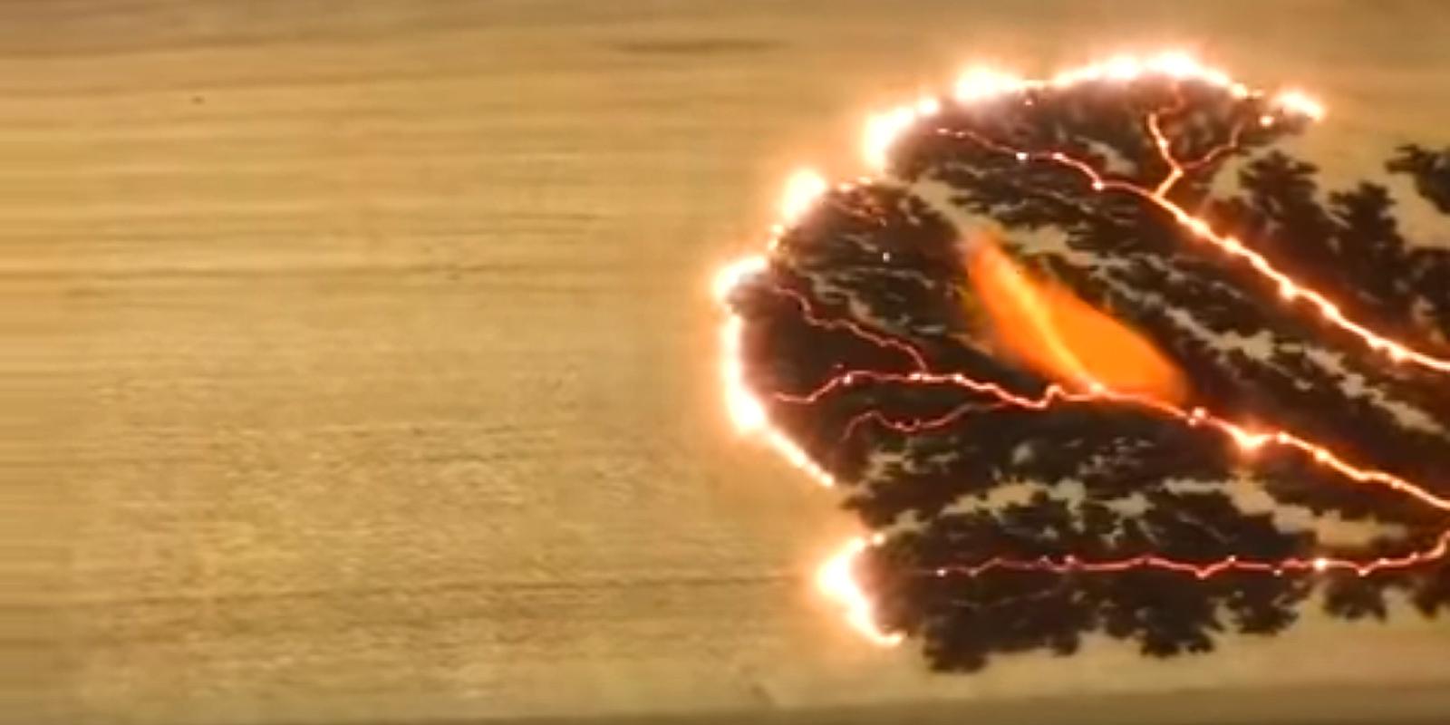Holz-Kunst mit Hilfe elektrischer Hochspannung